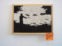 5000 map pins on corkboard to create a drawing - 'Gone Fishing'